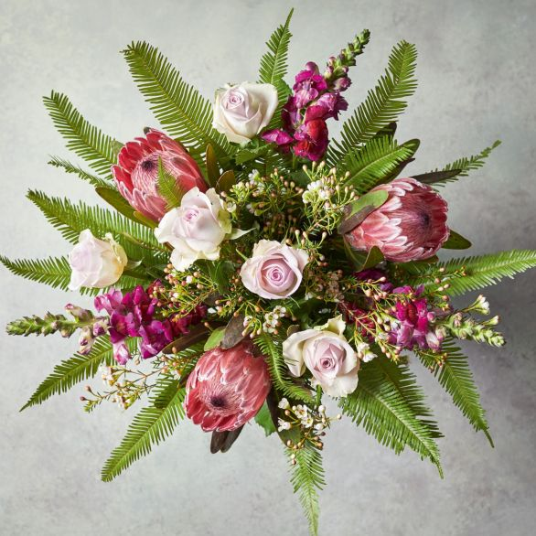 Mothers Day Rose & Protea Bouquet Pink