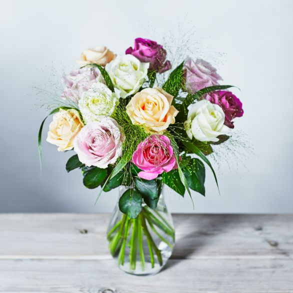 Dozen Avalanche Roses Bouquet Pink