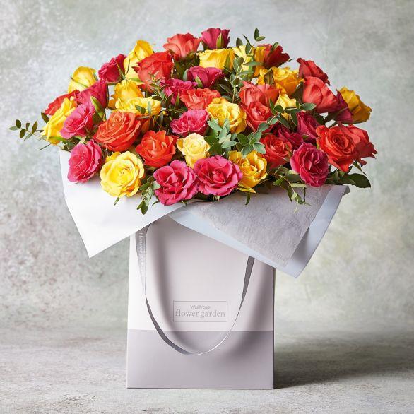Large Sweetheart Roses Gift Bag Orange.
