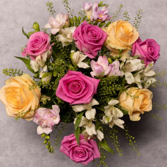 Scented Freesia & Rose Bouquet Pink