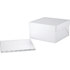 "PME 14"" square cake board & box"