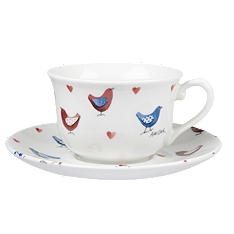 Churchill China Alex Clark Lovebirds tea cup &saucer