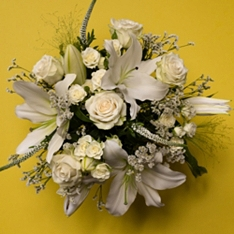 Scented White Lily, Rose & British Iris Bouquet