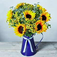 British Sunflowers & Matricaria Jug