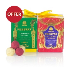 Prestat Truffles Gift Set Red Velvet & London Gin