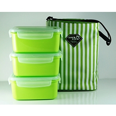 Lock & Lock Green Striped Bag Set