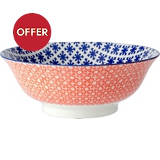 Waitrose oriental 21cm dark blue bowl