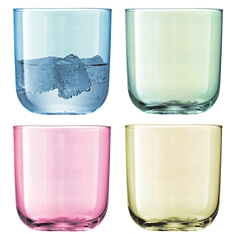 LSA Polka pastel tumbler glasses, set of 4 assorted