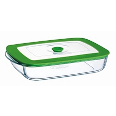 Pyrex shallow dish with lid, 25x22cm