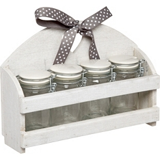 Home Made storage jars in wooden stand x4, 70ml