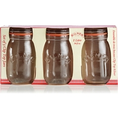 Kilner round clip top jars, 1 litre, set of 3