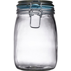 Waitrose Glass preserving jar with coloured seal, 950ml