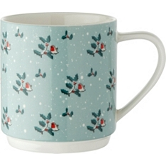 Waitrose robin and holly stacker mug