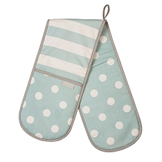 Cream & Country mint spot & stripe double oven glove