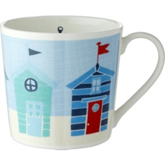 Waitrose Dorset colourful beach hut mug