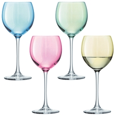 LSA Polka pastel wine glasses, set of 4 assorted