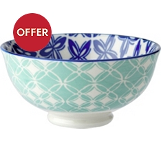 Waitrose oriental 11cm teal bowl