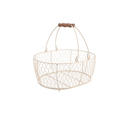 Provence cream wire large oval basket