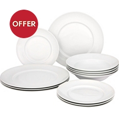 Waitrose Chef's White 12 piece rimmed tableware set