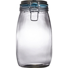 Waitrose Glass preserving jar with coloured seal, 1.5 litre