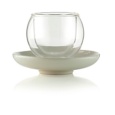 La Cafetiere bola cream and glass espresso cup and saucer