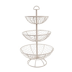 Provence cream wire 3 tier basket