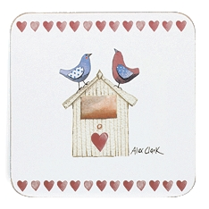 Churchill Alex clark Lovebirds coasters, set of 4