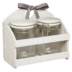 Home Made storage jars in wooden stand X2, 750ml