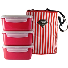 Lock & Lock striped lunch/picnic bag set