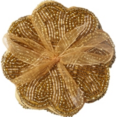 Waitrose Dining gold beaded coaster, set of 4