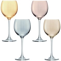 LSA Polka metallic wine glasses, set of 4 assorted