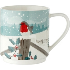 Waitrose robin and snowman stacker mug
