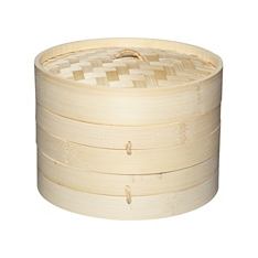World of Flavours Oriental bamboo steamer & lid