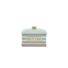 Cream & Country mint stripe covered butter dish