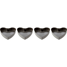 Waitrose Cooking mini heart loose tart tins, set of 4