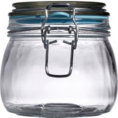 Waitrose Glass preserving jar with coloured seal, 380ml