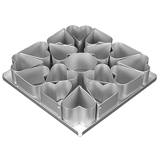 Silverwood 16 piece multi mini heart cake tin set