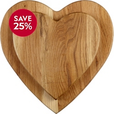 Waitrose Dining wooden heart boards