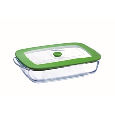 Pyrex shallow rectangle dish with lid, 23x15cm