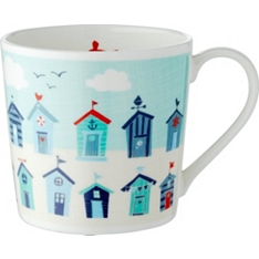 Waitrose Dining Dorset row of beach huts mug
