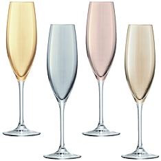 LSA Polka metallic champagne flutes, set of 4 assorted