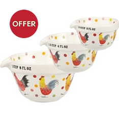 Churchill China Rooster measuring jugs, set of 3