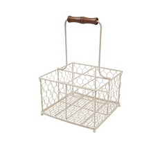 Provence cream wire 4 bottle holder