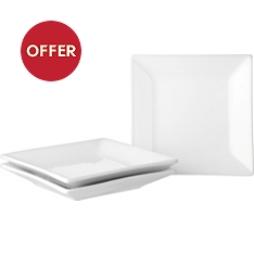 Waitrose Chef's White square canape plates, pack of 3
