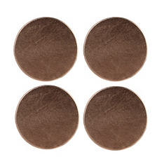 Faux leather metallic coasters, set of 4