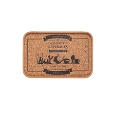 "Small cork printed tray ""beverages"""