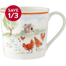 Waitrose bone china Dorset chickens mug