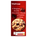 Waitrose 8 Belgian Double Chocolate Chunk All Butter Cookies 200g