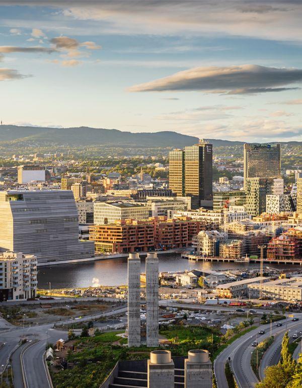 Oslo utsiktsbilde mot Bjørvika