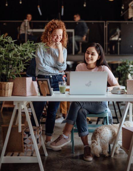 Bilder av damer på som jobber foran en laptop